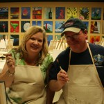 Dee Dee and Michael Scott participate in an art class at the new Alla Prima Creations on Canvas studio in Juno Beach.